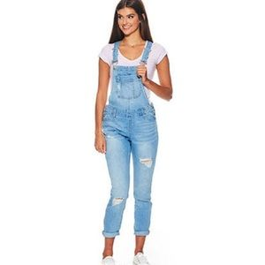 Blue Spice Juniors' Destructed Overalls
